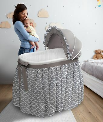 Convertible Oval Bassinet Rocker Cradle w/ Adjustable Canopy Nursery Furniture
