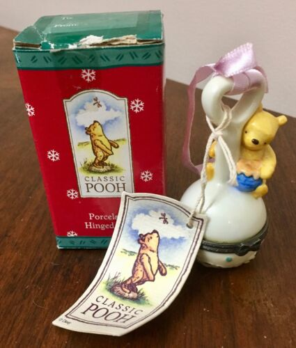 Classic Pooh Porcelain Hinged Box Pooh with Rattle Perjinkities
