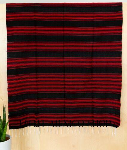 POPULAR SERAPE Mexican Blanket BLACK RED SOUTHWESTERN 5