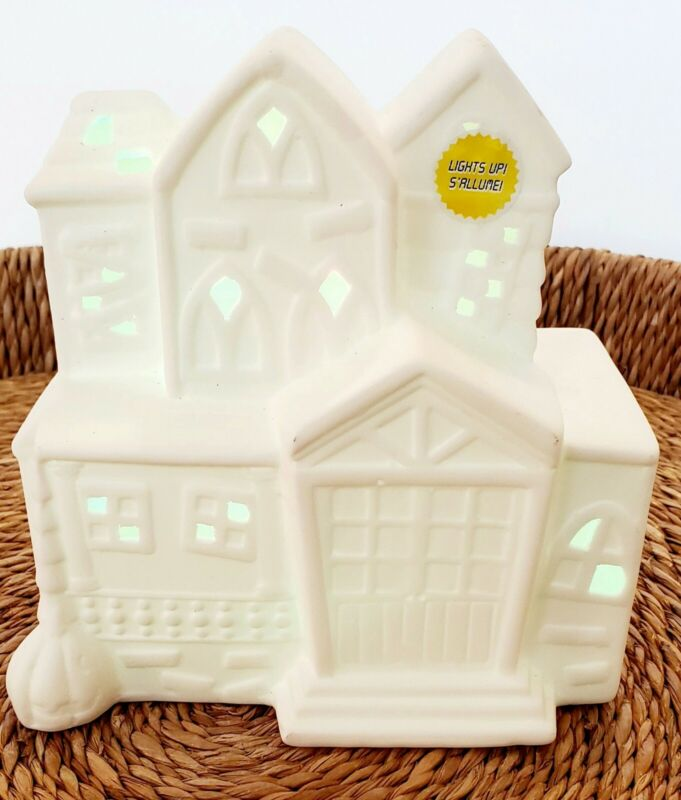 ArtMinds White Ceramic Lighted Light LED Village Halloween House Changes Colors