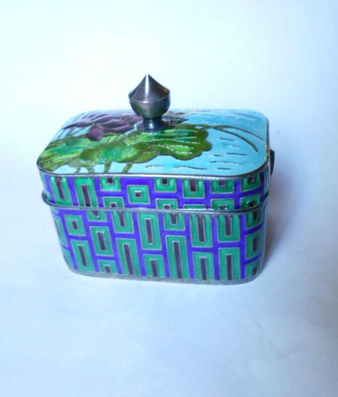 Antique KOREA Enameled 99% Pure Silver CHEONG/TEA Box.  Rare Estate Find
