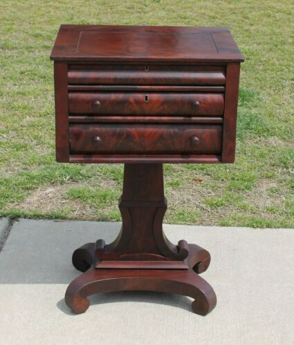 American Empire Flamed Mahogany Sewing Work Table Stand Circa 1840