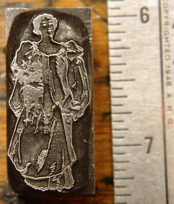 Letterpress Printing Printer Block Press Wood Metal Type Woman Victorian