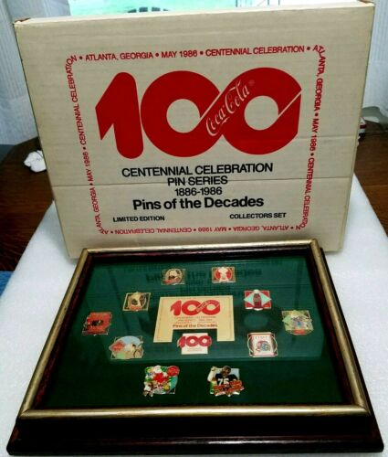 Coca Cola Pin Set 100 Year Centennial Pins of 10 Decades 1986 Ltd Edition & BOX