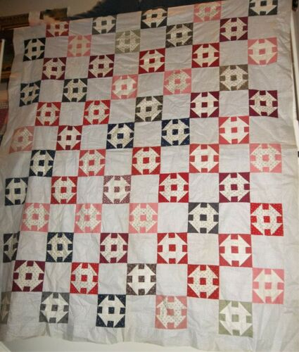 """Antique 1800s Churn Dash Quilt Top Hand Pieced 64 x 76 1/2"""" Crisp Never Washed!"""