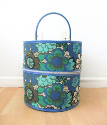VGC Vtg 60s 70s Mod Blue Green Flower Power Round Zip Wig Case Storage Carrier
