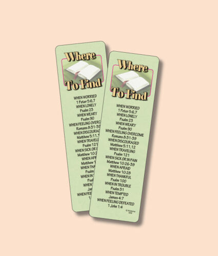 """""""Where To Find"""" In The Bible Scriptures - 2 Verse Bookmarks - sku# VBM639"""