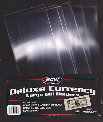(8) LARGE BCW DELUXE CURRENCY SLEEVE BILL PAPER NOTE MONEY HOLDERS SEMI RIGID01