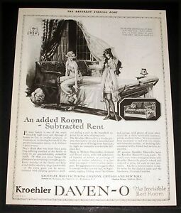 1921 Old Magazine Print Ad Kroehler Daven O Invisible Bed
