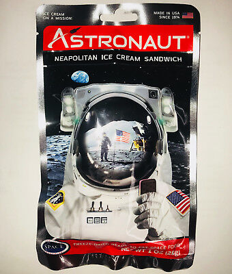 4 Packs of Astronaut Ice Cream Neapolitan Ice Cream Sandwich Space Food NASA for sale  Shipping to Canada