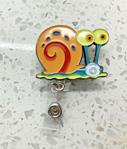 SpongeBob's Square Pants Gary The Snail Face Mask Metal ID Holder Retractable
