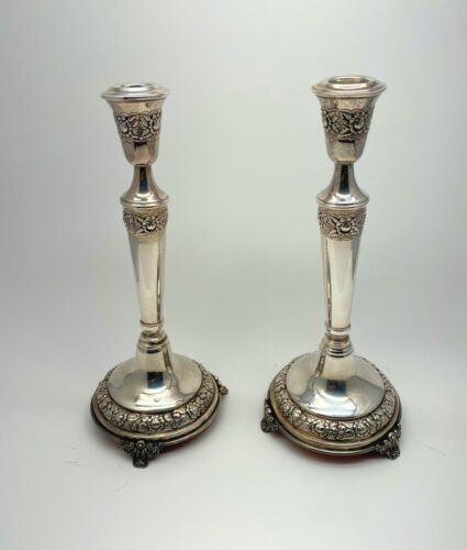 Elegantly embossed Sterling Silver footed candle holders candlesticks 10 3/4""