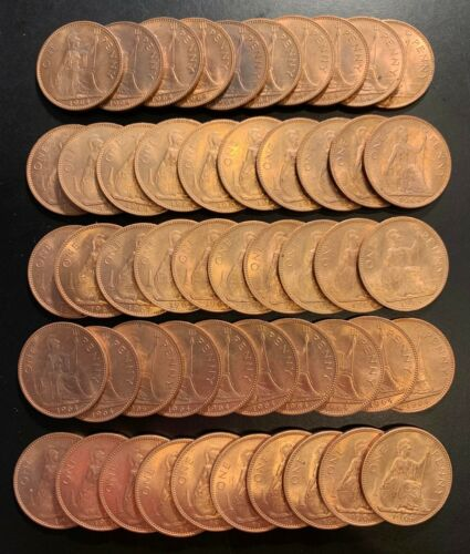 Lot of (50) 1964 Great Britain Large Britannia Copper Penny - Free Shipping USA