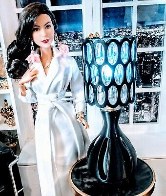 OOAK Barbie size -1/6 scale Chic Black Modern contemporary style table lamp !