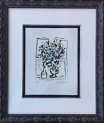 Marc Chagall - Black and Blue Bouquet, 1957 - Original Signed Mourlot Lithograph
