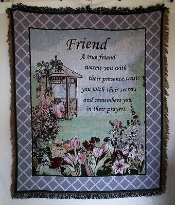 Friends Tapestry Throw Blanket Flowers Gazebo Pastels 47