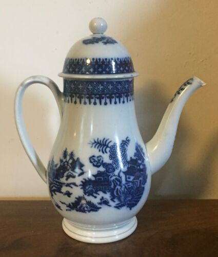 Antique 18th c. Creamware Coffee Pot Teapot Blue & White Chinese Pearlware 1790
