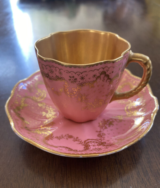 Royal Crown Derby Demitasse Cup Saucer Set Pink Gold