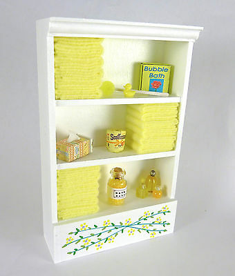 Closeout! Dollhouse Miniature Tall White Bathroom Filled Cabinet Yellow, SH0005