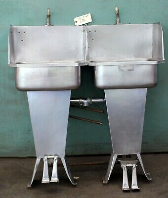 Stainless Steel Double Industrial Sink Floor Mounted Foot Pedal Operation Used