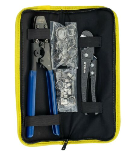 """PEX CINCH CLAMP CRIMPING TOOL & CUTTER,GAUGE+ 30 1/2"""" ,3/4"""" CLAMPS IN CANVAS BAG"""