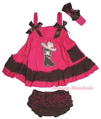 Cowgirl Shoes Baby Girls Hot Pink Brown Swing Top Bloomer Outfit Set - Baby Girl Cowgirl Outfits