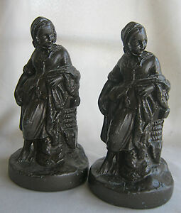 Heavy-Cast-Metal-Painted-Bookends-Coquetish-Woman
