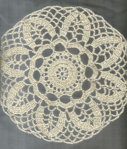"New Hand Crocheted Doily 9"" Ecru w/Metallic Gold Filament Holidays"