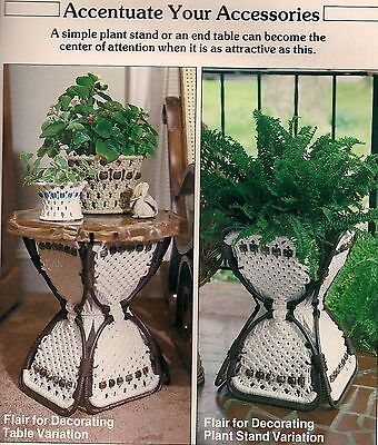 Table & Plant Stand Patterns Craft Books: #1938 Macrame Innovations Home Designs