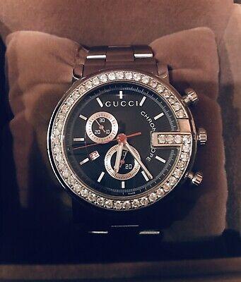 Gucci G Chrono Men's Diamond Encrusted Wrist Watch - Silver - 2 CT