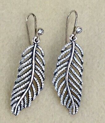 Pandora  Light As A Feather Earrings  290680CZ  New  With Posts