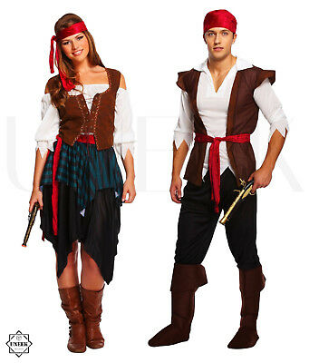 Adult Caribbean Pirate Fancy Dress Costume Couple Shipmate Halloween Outfit - 1980s Couples Halloween Costumes