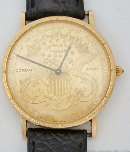 18k Gold Corum 1904 $20 Double Eagle Coin Diamond Crown Mens Vintage Watch - watch picture 1