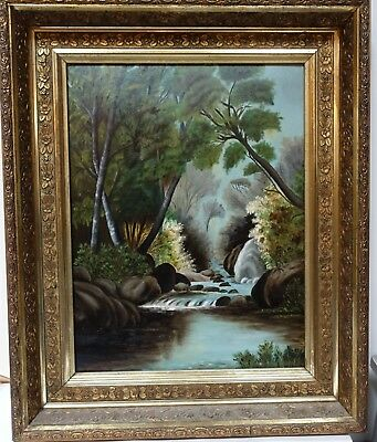 Used, #PIC ANTIQUE AMERICAN PRIMITIVE NAIVE LANDSCAPE PAINTING IN GILT GESSO FRAME for sale  Shipping to Canada