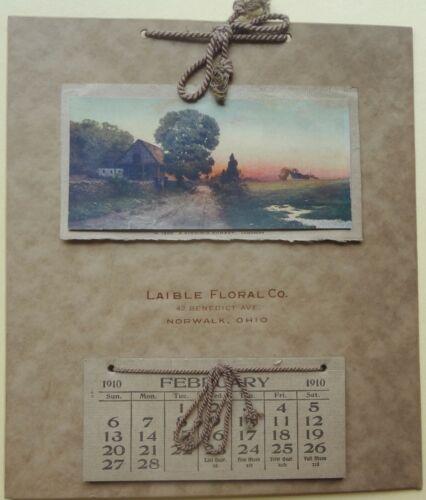 1910 NORWALK, OHIO scenic LAMASURE print CALENDAR for LAIBLE FLORAL CO.