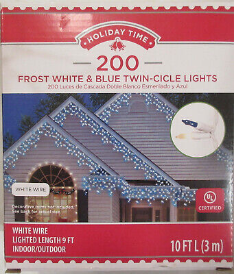 Holiday Time 200 Frost White & Blue Twin-Cicle Lights Christmas Icicle 10 ft NEW