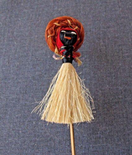 VINTAGE DOLL WITH HAT & RAFFIA SKIRT ON A STICK DECORATION   #4