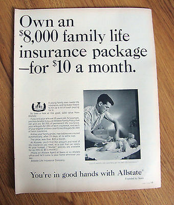 1965 Allstate Insurance Ad Own An  8000 Family Life Package  10 A Month
