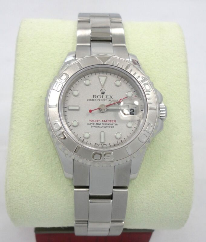 ROLEX LADIES YACHT-MASTER PLATINUM BEZEL OYSTER PERPETUAL *MINT* 169622