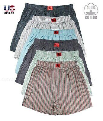 Lot 3 Pack Men's Boxer 100% Cotton Knit Plaid Check Short Trunk Underwear Beach  Cotton Boxer Knit Shorts