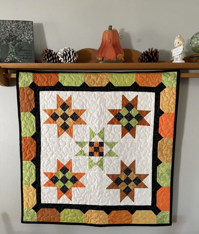"""Autumn Harvest Wall Hanging or Table Topper Quilted Fall Decor 30"""" x 30"""""""