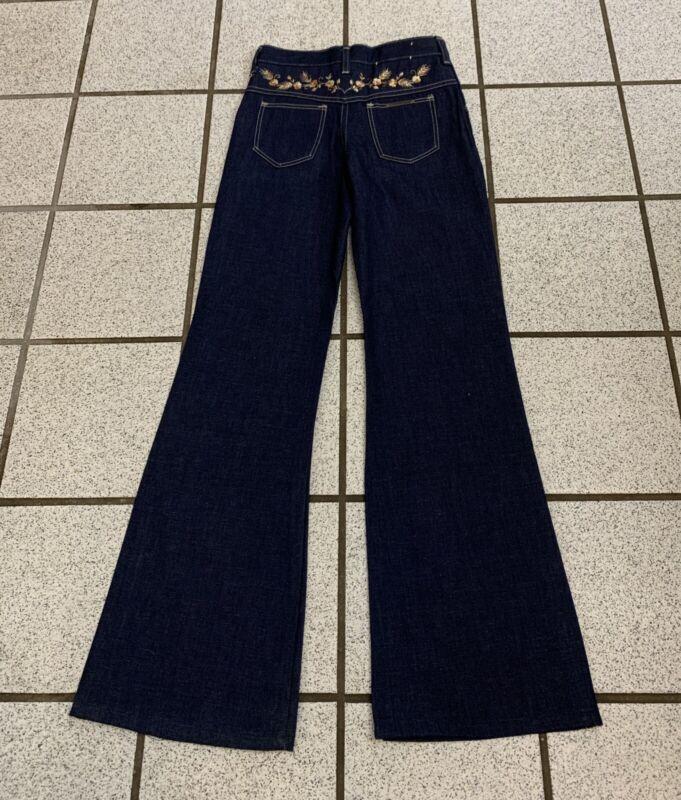 Vintage Girls Bell Bottom Jeans Disco Hippie 24 X 27 Dark Flare 1970s NEW Sz 10