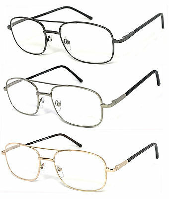 Quality Metal (Premium Quality Metal Frame Retro Aviator Clear Lens Reader Reading Glasses R100 )