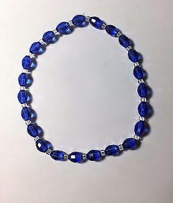 """Celestial Crystal Stretch Ankle Bracelet - Oval Blue Beads - 10"""""""