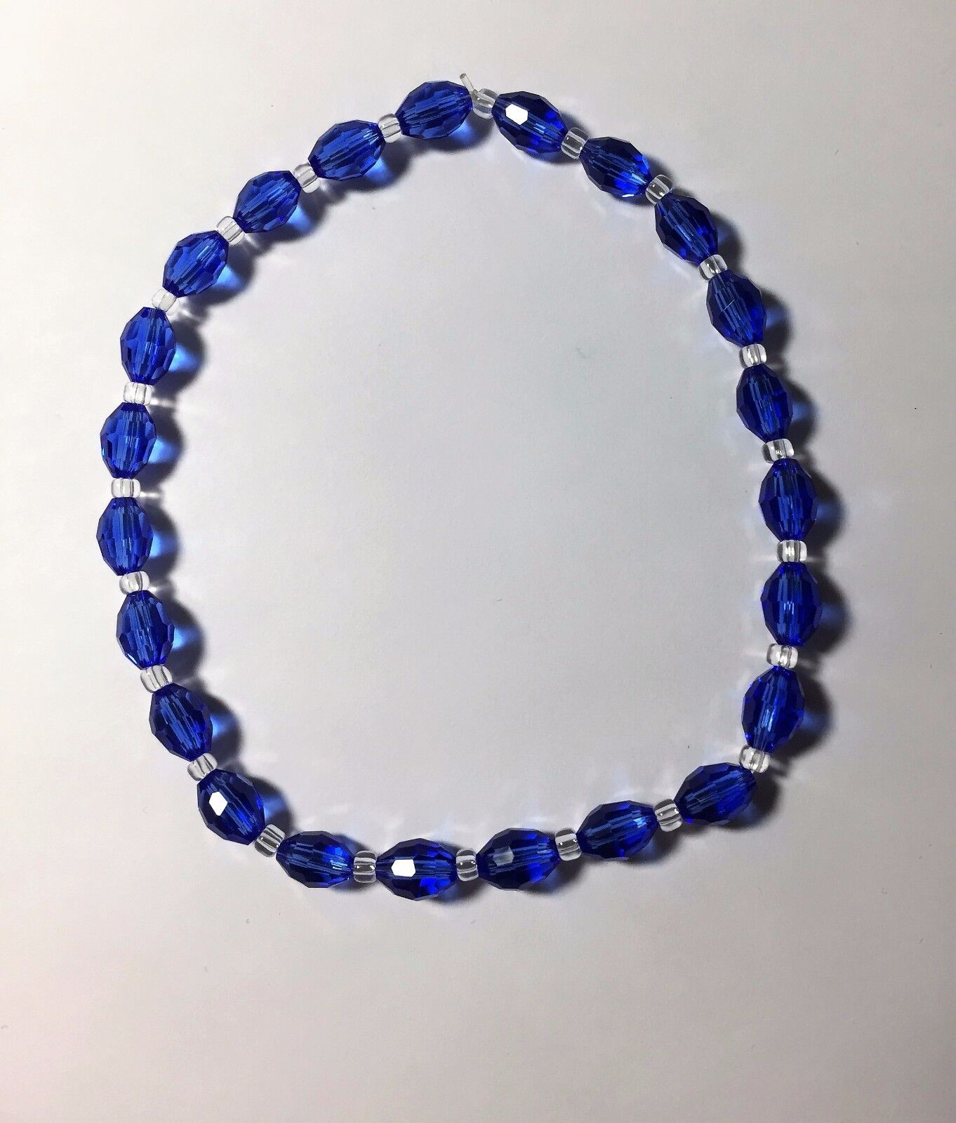 Celestial Crystal Stretch Ankle Bracelet - Oval Blue Beads - 10""