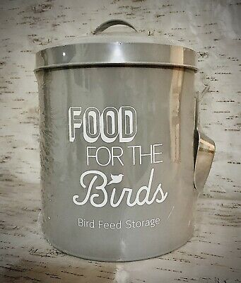 Bird Food Feed Storage Tin with Scoop Metal Birds Feeding Holder Seed Bin Grey