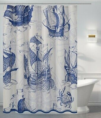 Nautical Shower Curtain - Fabric, Water-repellent, Washable, Mildew Resistant