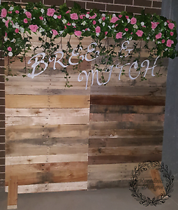 Rustic Flower Wall with Names Campbelltown Campbelltown Area Preview