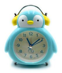 Mini Alarm Clock Cute Penguin Portable Twin Bell Night Light Battery Operated US