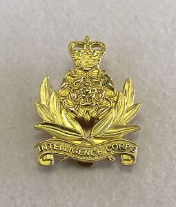 Intelligence Corps Brass OR Cap Badge, Gold, Army, Military, Metal, Int Corp